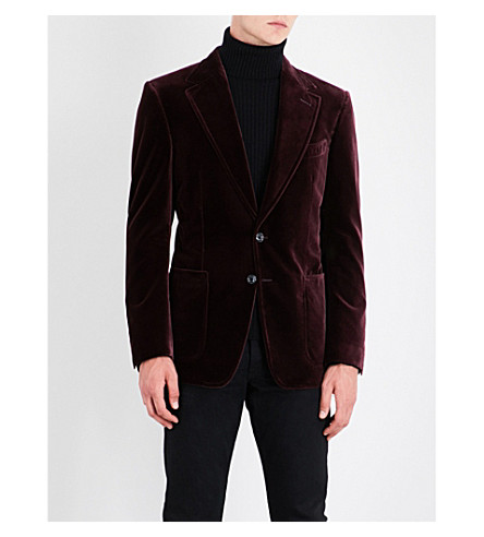 TOM FORD Single-breasted slim-fit velvet jacket (Borduex