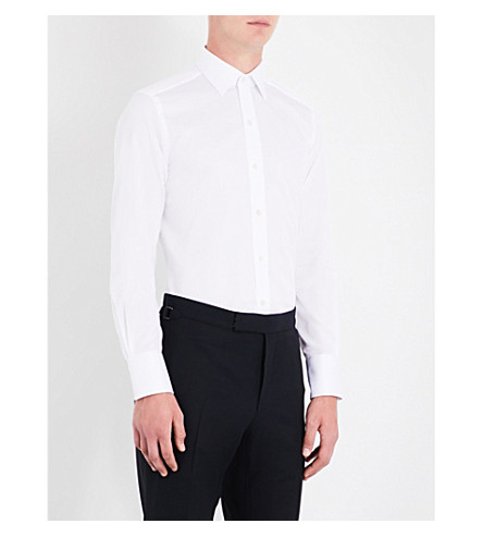TOM FORD Geometric-pattern slim-fit cotton shirt (White