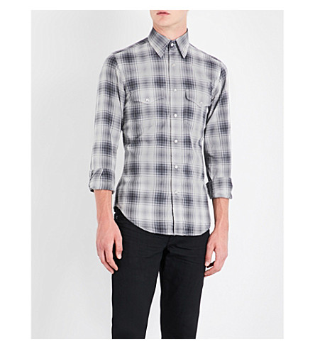 TOM FORD Western checked slim-fit cotton shirt (Grey