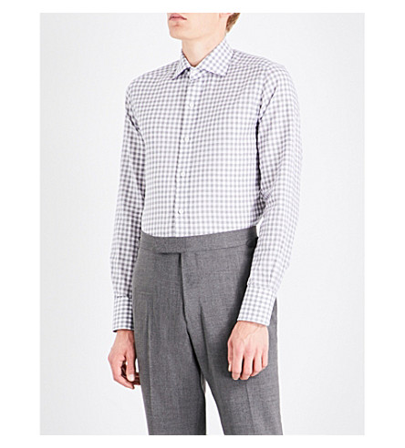 TOM FORD Slim-fit checked cotton and linen-blend shirt (Charcoal+white