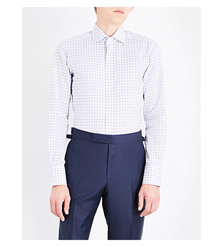 TOM FORD Slim-fit checked cotton and linen-blend shirt (Blue+white