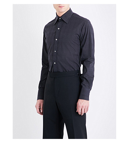 TOM FORD Checked slim-fit cotton shirt (Navy