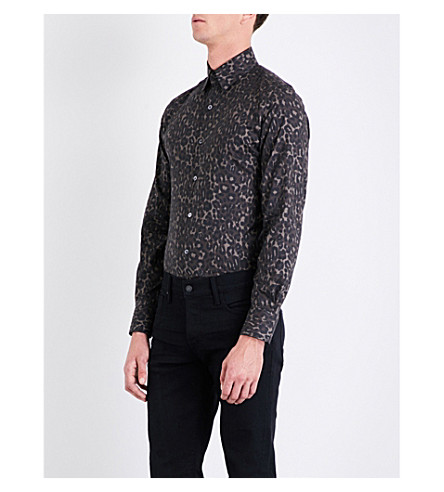 TOM FORD Leopard-print classic-fit cotton shirt (Khaki