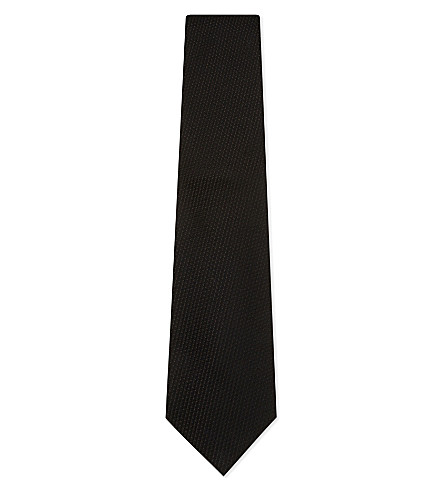 TOM FORD Woven cotton silk tie (Black
