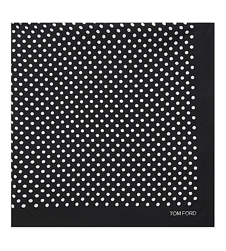 TOM FORD Polka-dot silk pocket square (Black