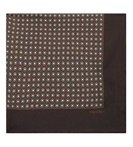 TOM FORD Circular dot print silk pocket square (Brown