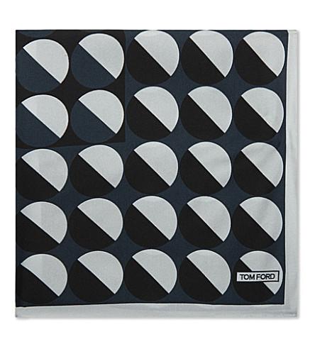 TOM FORD Geometric printed silk pocket square (Blue
