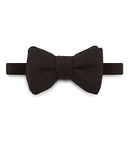 TOM FORD Pindot wool-silk tie bow tie (Bordeux