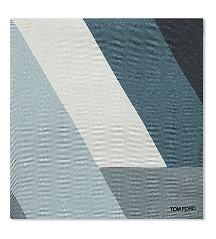 TOM FORD Regtangle stripe silk pocket square (Green