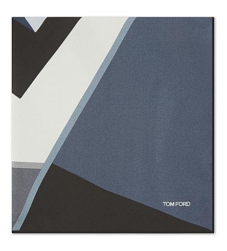TOM FORD Block panel silk pocket square (Blue