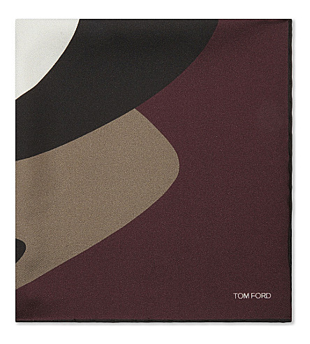 TOM FORD Silk pocket square (Burgundy