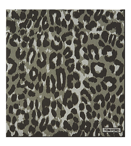 TOM FORD Leopard print silk pocket square (Gren