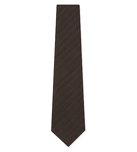TOM FORD Subtle stripe silk-wool tie (Brown