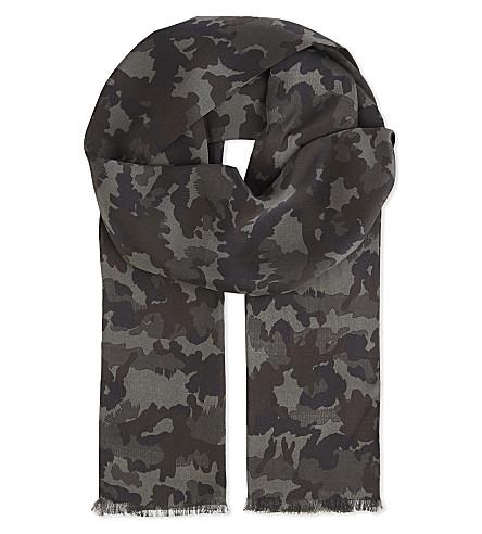 TOM FORD Camo print silk scarf (Khaki