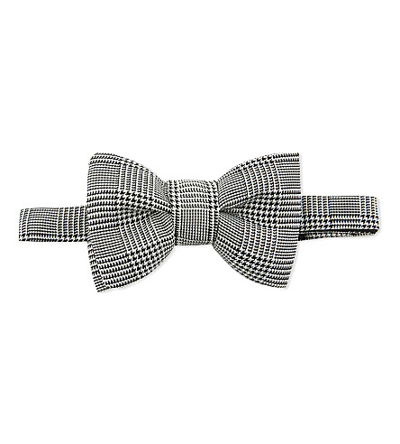 TOM FORD Houndstooth silk bow tie (Black