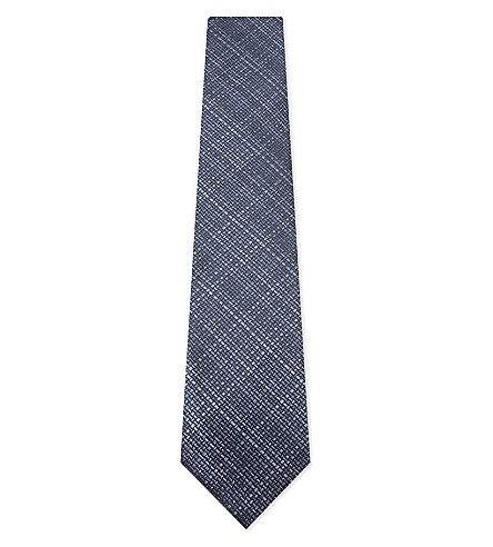 TOM FORD Subtle check silk tie (Bright+blue