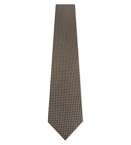 TOM FORD Woven spotted silk tie (Brown