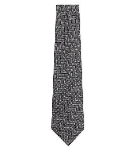 TOM FORD Herringbone wool and silk-blend tie (Light+grey