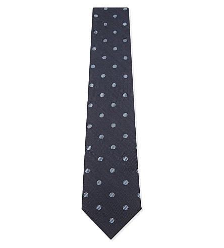 TOM FORD Polka dot silk and wool blend tie (Blue