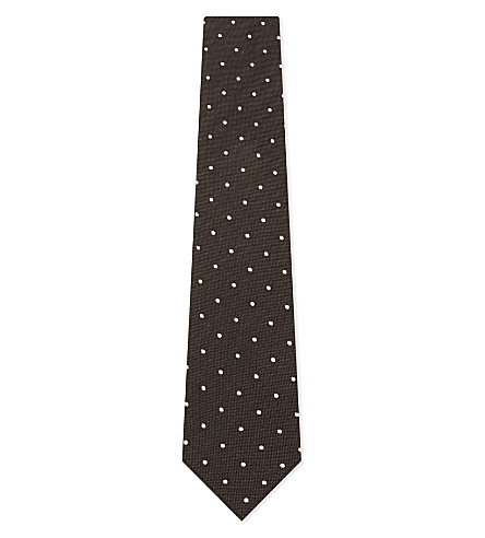 TOM FORD Polka-dot wool-silk tie (Brown