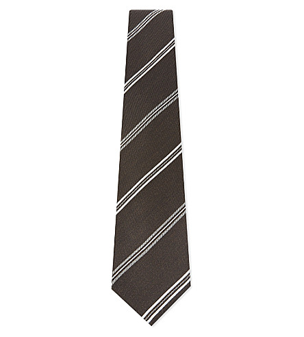 TOM FORD Diagonal striped wool-silk tie (Brown