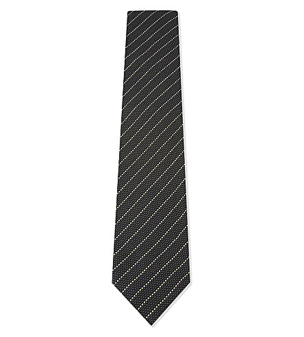 TOM FORD Dash stripe silk tie (Dark+grey