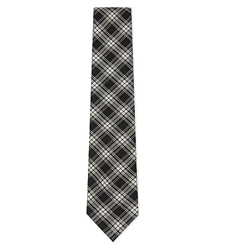 TOM FORD Tartan check wool-silk tie (Black