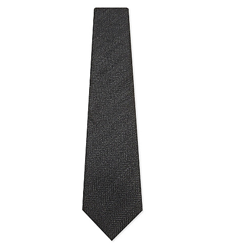 TOM FORD Herringbone wool-blend tie (Charcoal