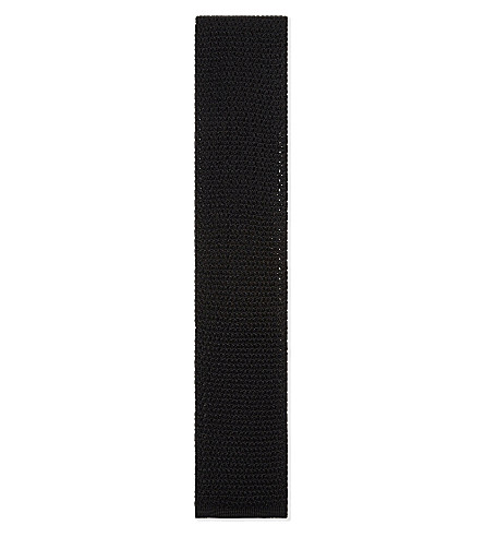 TOM FORD Chunky knitted silk tie (Black