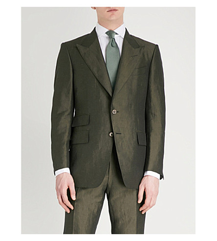 TOM FORD Shelton-fit linen and silk-blend suit (Green