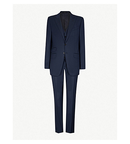 TOM FORD Classic-fit three-piece wool suit (Navy