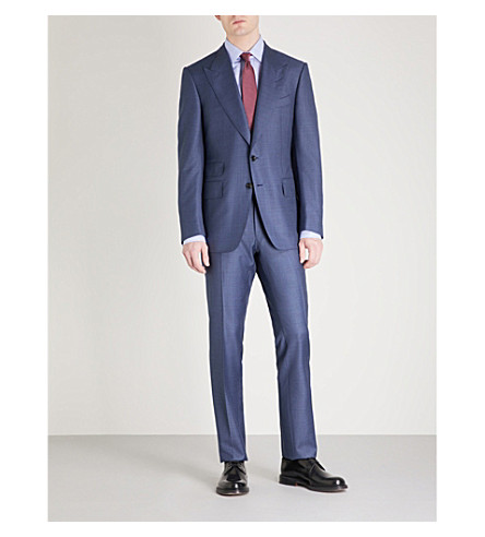 TOM FORD Textured Shelton-fit wool suit (Blue