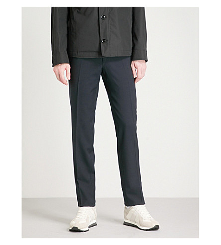 TOM FORD Fresco regular-fit straight wool trousers (Navy
