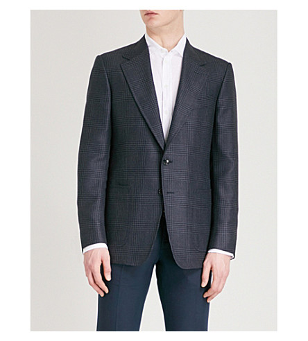 TOM FORD Shelton-fit woven check wool-blend jacket (Navy