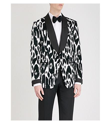 TOM FORD Animal-print Shelton-fit velour jacket (Navy
