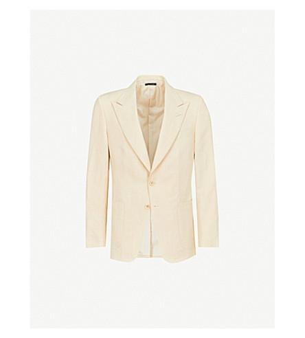 TOM FORD Shelton-fit peak-lapel linen jacket (Yellow
