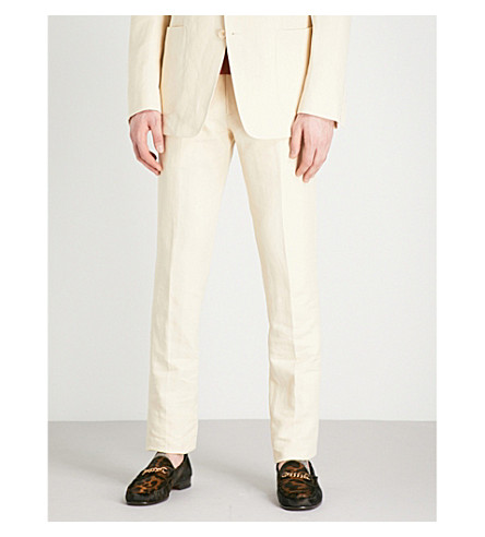 TOM FORD Regular-fit tapered linen trousers (Yellow