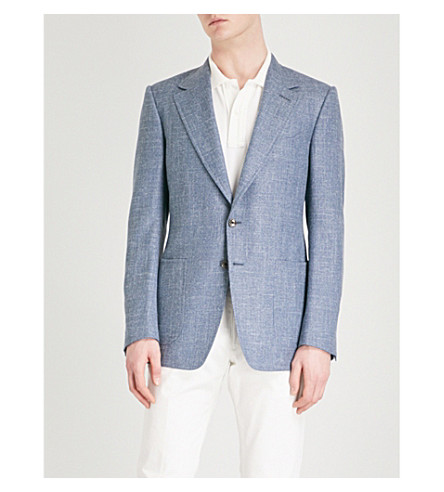 TOM FORD Shelton-fit wool, silk and linen-blend jacket (Blue