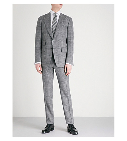 TOM FORD Checked Shelton-fit wool, linen and silk-blend suit (Grey