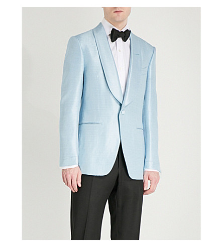 TOM FORD Shelton-fit satin tuxedo jacket (Blue