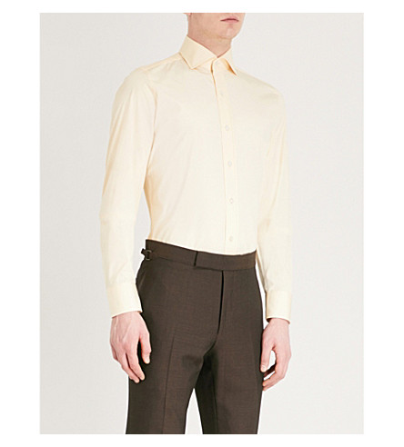 TOM FORD Tailored-fit cotton shirt (Yellow