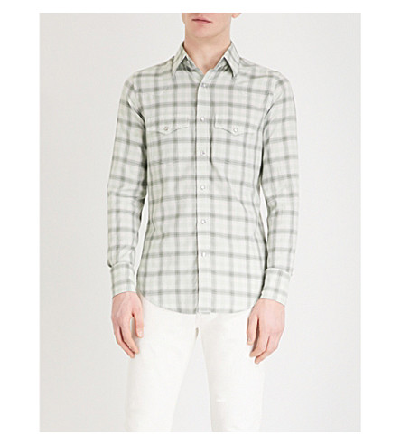 TOM FORD Checked regular-fit cotton shirt (Green