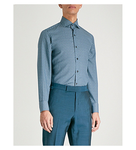 TOM FORD Geometric-print tailored-fit woven shirt (Blue