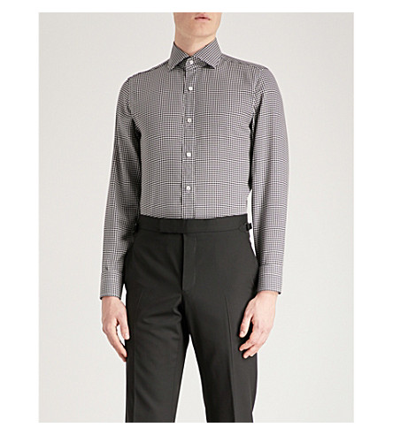 TOM FORD Houndstooth tailored-fit crepe shirt (Grey