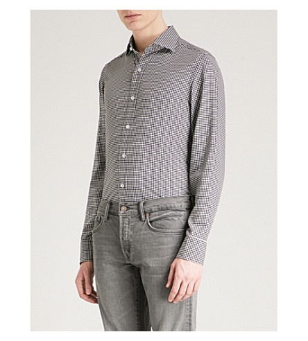 TOM FORD Tailored-fit houndstooth woven shirt (Blue