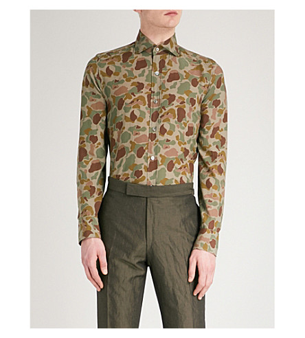 TOM FORD Camo-print tailored-fit woven shirt (Camo