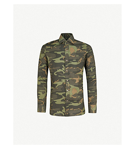 TOM FORD Camouflage-print regular-fit woven shirt (Green