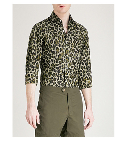 TOM FORD Leopard-print regular-fit woven shirt (Green