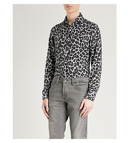 TOM FORD Tailored-fit leopard-print woven shirt (Leopard