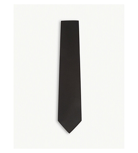 TOM FORD Solid diagonal twill silk tie (Black